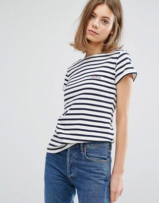 Maison Labiche Cherie Embroidered Logo Striped T-shirt $83 thestylecure.com