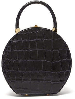 Sparrows Weave - The Round Wicker And Leather Bag - Womens - Navy