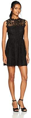 Speechless Junior's High Neck Lace Dress with Illusion Bodice (Junior's)