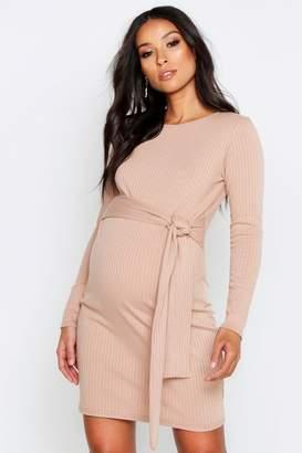 boohoo Maternity Tie Waist Knitted Rib Dress