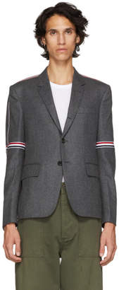 Thom Browne Grey Elastic Stripe Seamed Armhole Single-Breasted Blazer