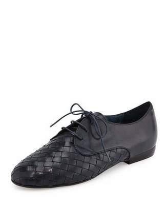 Sesto Meucci Naxos Woven Leather Oxford, Navy $420 thestylecure.com