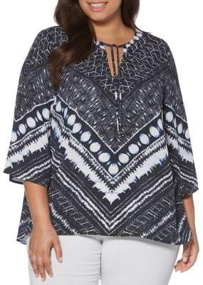 Rafaella Plus Self-Tie Printed Blouse