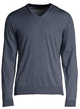 Corneliani Men's Contrast Stripe Wool V-Neck Sweater