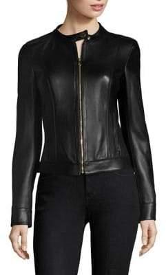 Versace Leather Zip-Front Jacket
