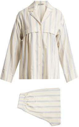 Three Graces London - Moore Cotton And Linen Blend Pyjama Set - Womens - White Multi