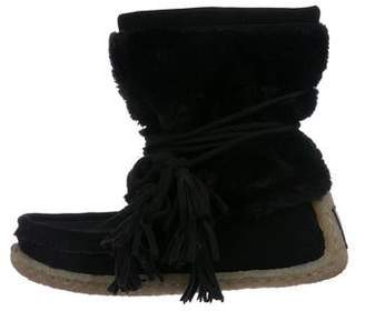 Joie Alabama Suede and Faux Fur Ankle Boots