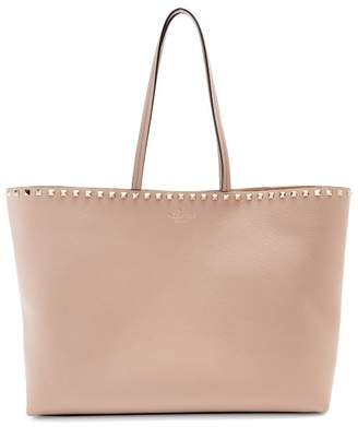 Valentino Rockstud Leather Tote Bag - Womens - Nude