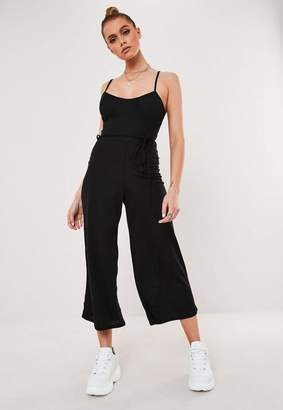 Missguided Tall Black Ribbed Culotte Romper