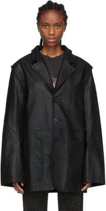 Telfar Black Faux-Leather Detachable Arm Jacket