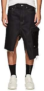 Rick Owens Men's Raw-Denim Asymmetric Cargo Skirt-Black