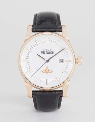 Vivienne Westwood Leather Watch In Black Vv065swhbk