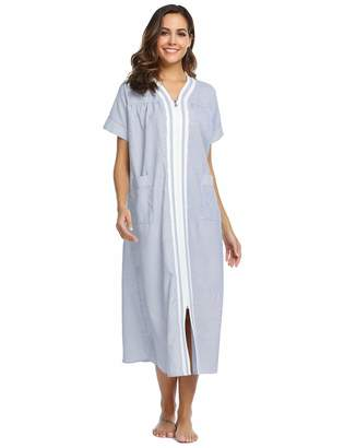 9c4f8419a8d0 Ekouaer Nightgowns Women Short Sleeve House Dress Zipper Front Striped  Sleepwear