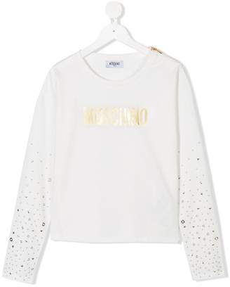 Moschino Kids TEEN embellished long-sleeve T-shirt