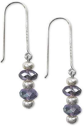 Jody Coyote Iridescent Glass Bead Drop Earrings in Sterling Silver & Silver-Plate