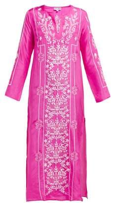 Juliet Dunn Lotus Embroidered Silk Satin Kaftan - Womens - Dark Pink