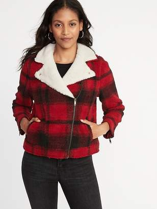Old Navy Plaid Sherpa Moto Jacket for Women