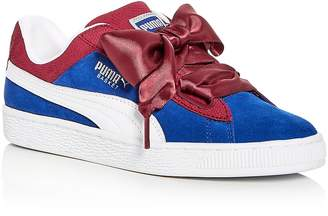 Puma Women's Basket Color-Block Suede Lace Up Sneakers