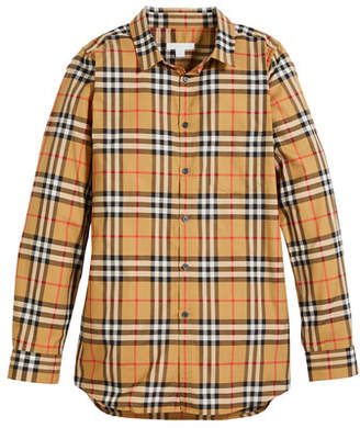 Burberry Fred Long-Sleeve Check Shirt, Size 4-14