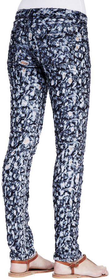 Etoile Isabel Marant Floral-Print Distressed Skinny Jeans