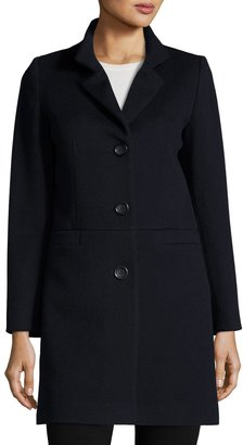 Cinzia Rocca Wool-Blend Long Coat, Navy $665 thestylecure.com