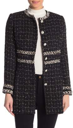 Champagne & Strawberry Topstitched Long Sleeve Coat