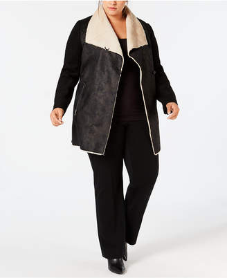 Calvin Klein Plus Size Faux-Shearling Open-Front Coat