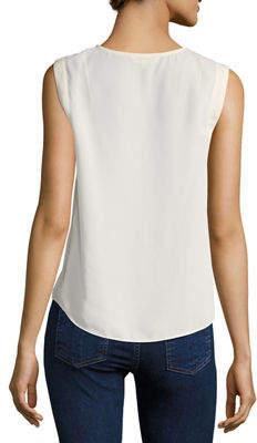 Nanette Lepore Nanette Pintucked Sleeveless Blouse With Lace Trim