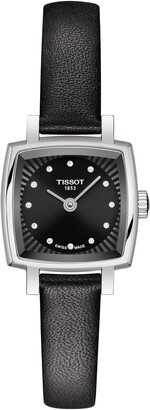 Tissot Lovely Square Diamond Leather Strap Watch, 20mm