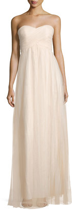 Donna Morgan Empire-Waist Strapless Tulle Gown, Light Beige $161 thestylecure.com