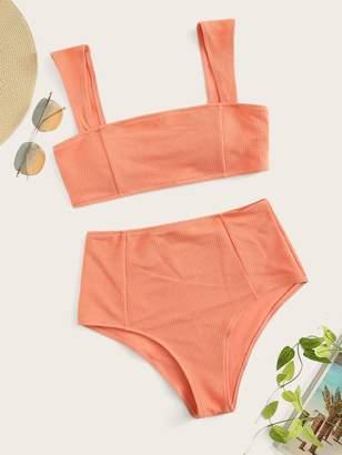 Shein Wide Straps Top With High Waist Bikini Set