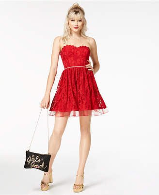City Studios Juniors' Strapless Embellished Lace Dress