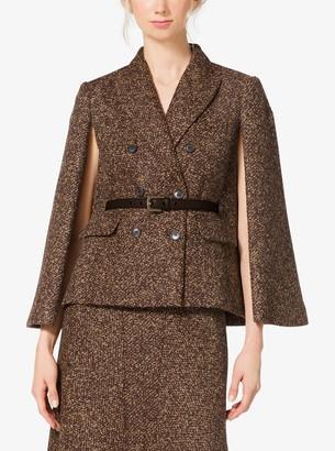 Michael Kors Tweed Wool-Boucle Cape Jacket