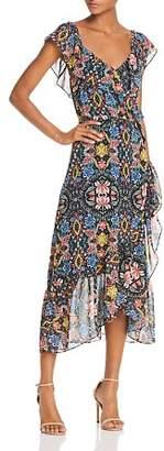 Rebecca Minkoff Jessica Ruffled Floral Midi Wrap Dress