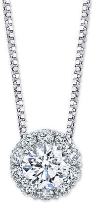 "Macy's Diamond Halo 18"" Pendant Necklace (1 ct. t.w.) in 14k White Gold"
