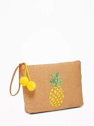 Old Navy Graphic Straw Pom-Pom Clutch for Women