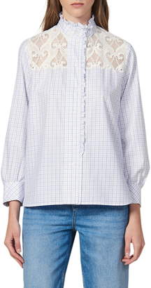 Sandro Daril Lace Yoke Windowpane Plaid Cotton Blouse