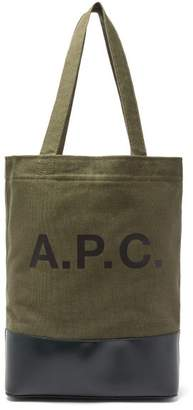 A.P.C. Axel Bi Colour Canvas And Leather Tote - Mens - Green