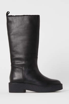 H&M Leather Boots - Black