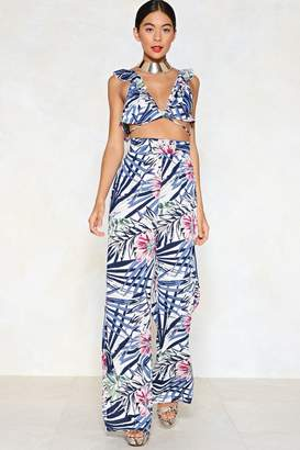 Nasty Gal Palm Yourself Crop Top and Pants Set
