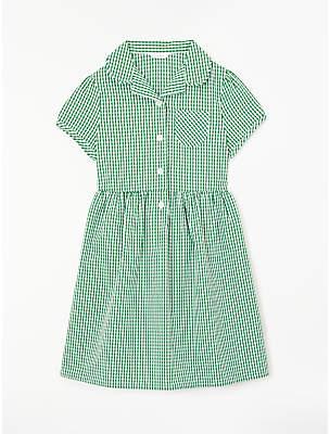 John Lewis School Belted Gingham Checked Summer Dress, Green