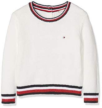 Tommy Hilfiger Girl's Essential Stripe Rib Sweater Jumper, (Snow White 118)