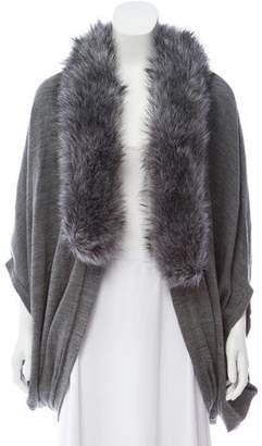 La Fiorentina Faux Fur-Accented Knit Cardigan