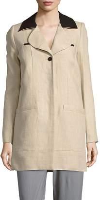 Carven Women's Notch Collar Linen Jacket