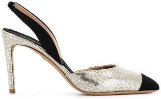 Giambattista Valli snake embossed slingback pumps
