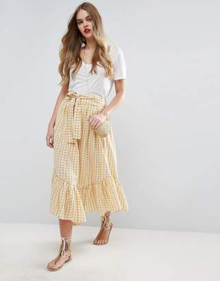 ASOS Midi Skirt in Gingham with Asymmetric Hem and Tie Waist $51 thestylecure.com
