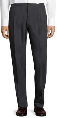 Salvatore Ferragamo Men's Drawstring-Waist Stretch-Cotton Pleated Sport Pants