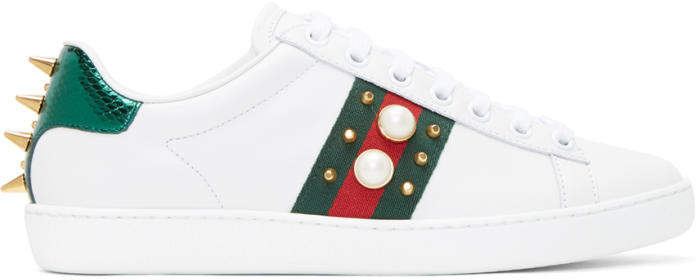 Gucci White Pearls and Studs Ace Sneakers