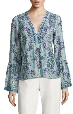 Nanette Lepore Dewdrop Bell Sleeve Silk Top $348 thestylecure.com