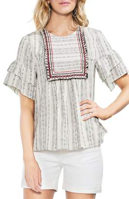 Vince Camuto Short Sleeve Embroidered Peasant Top